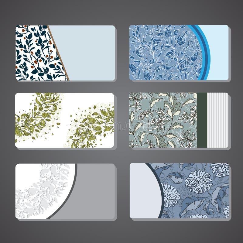 För affärskort för samling blom- dekorativ beståndsdel stock illustrationer