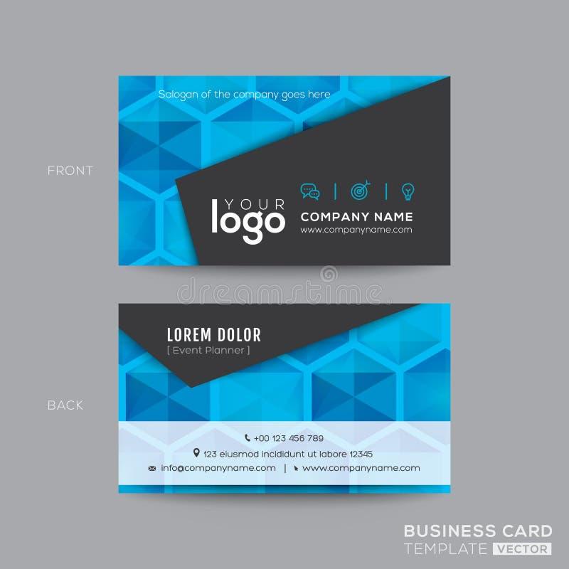 För affärskort för svart och för blått modern design stock illustrationer