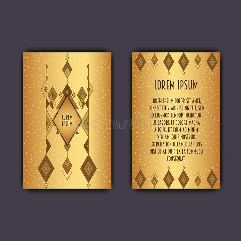 För affärskort för vektor etnisk mall med den stam- geometriska beståndsdelen stock illustrationer