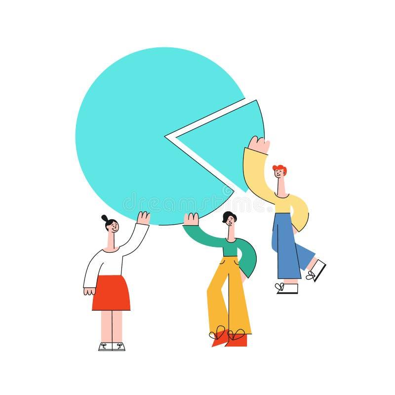 För affärsman för vektor plan kvinna med kugghjul royaltyfri illustrationer