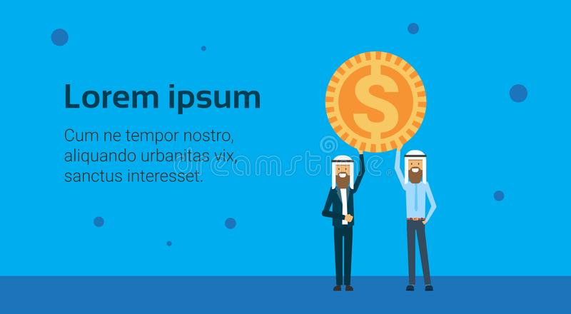 För affärsmanledare för två arab mynt för dollar för håll, pengarackumulationsbegrepp över blå bakgrund, lägenhet, kopieringsutry royaltyfri illustrationer