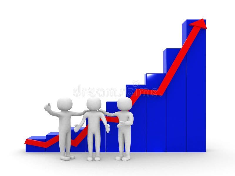 för affärsstatistik för vitt folk 3d graf, isolerad vit backgro stock illustrationer