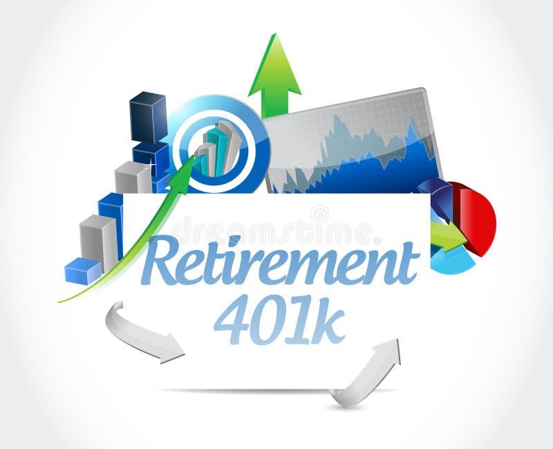 för affärstecken för avgång 401k begrepp stock illustrationer