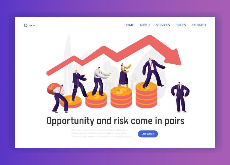 För affärstecken för finansiell risk sida för landning för begrepp för graf Affärsman Walk på myntinvesteringbaner Förtroendeekon stock illustrationer