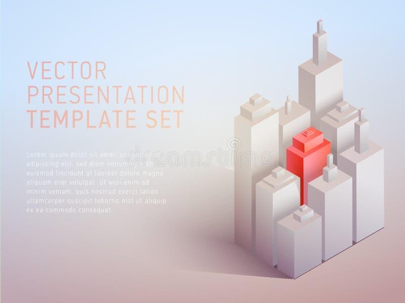 För affärstema för vektor 3d mall för presentation royaltyfri illustrationer