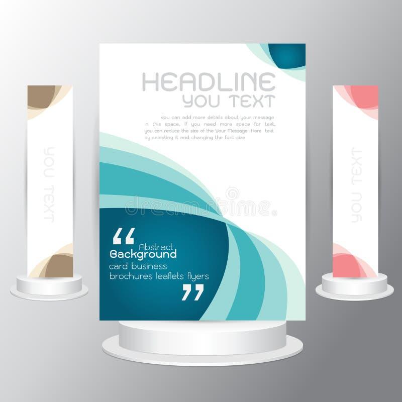 För affärsuppsättning för vektor trifold affär för reklamblad för mall för blått för broschyr royaltyfri illustrationer
