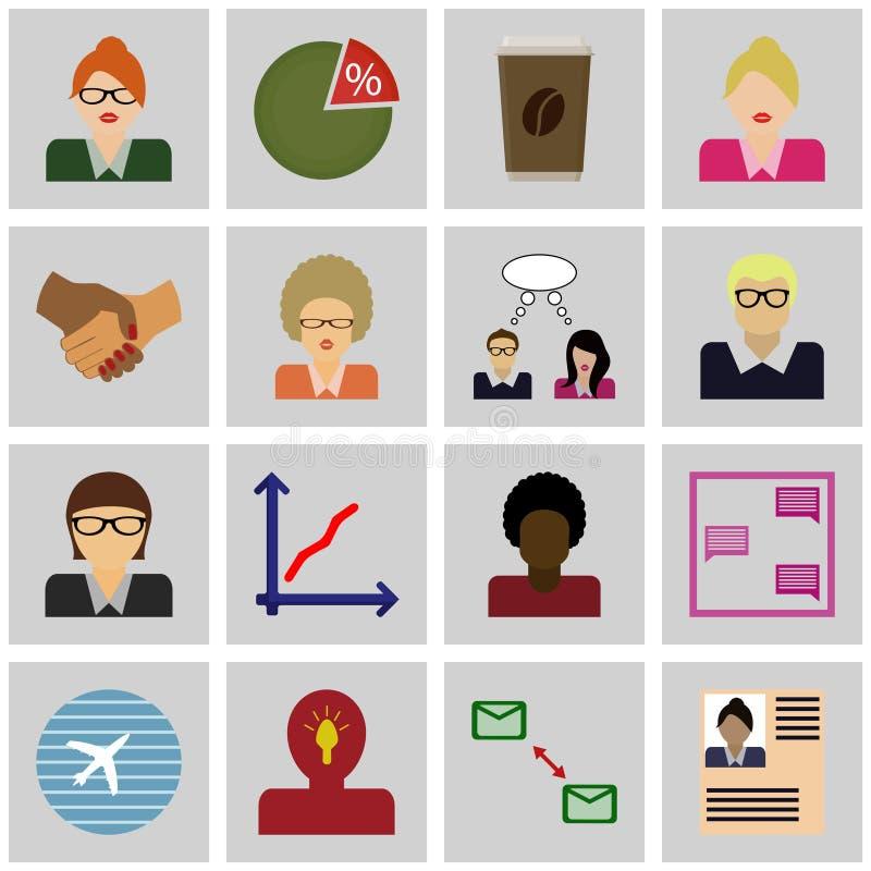 För affärsvektor för symbol grånar kvadrerar fastställda symboler för affär, stock illustrationer