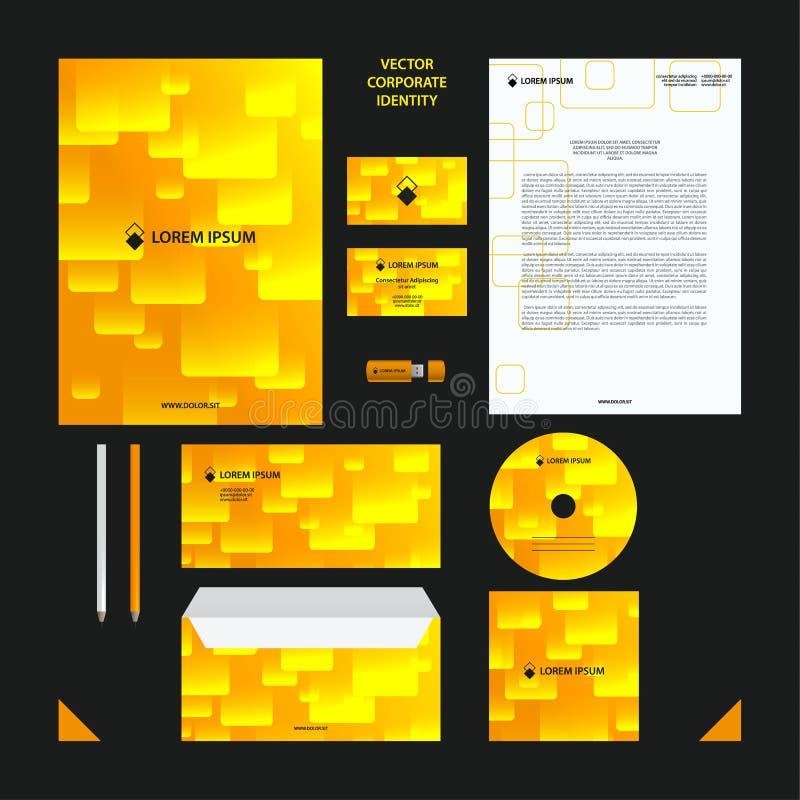 För affärsvektor för företags identitet mall Företagsstiluppsättningen i guling tonar med den genomskinliga tegelplattamodellen royaltyfri illustrationer