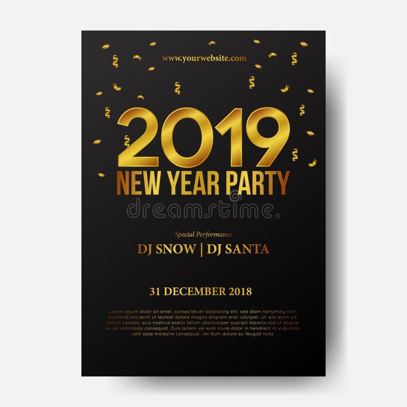 För affischbakgrund för lyckligt nytt år mall med det guld- numret 3d med guld- konfettier också vektor för coreldrawillustration royaltyfri illustrationer