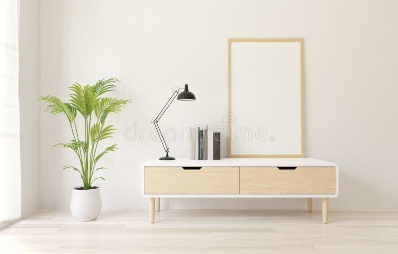 för affischram för tolkning 3d vit modell på serveringsbordet, vit vindvägg, trägolv stock illustrationer