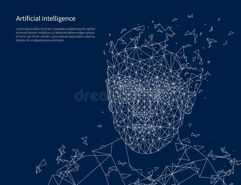 För affischtext för konstgjord intelligens vektor för prövkopia royaltyfri illustrationer
