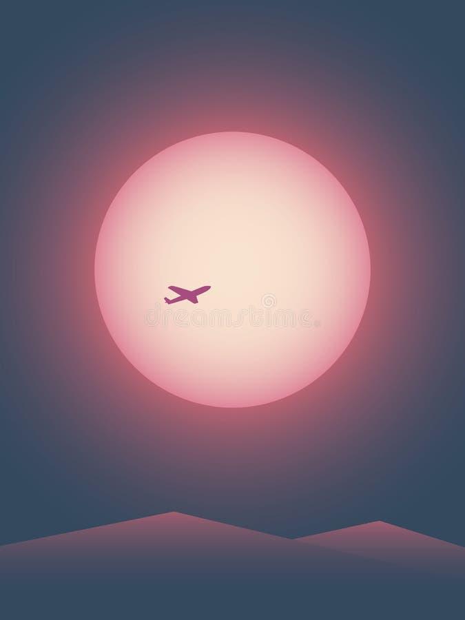 För affischvektor för sommar resande mall med flygplanet som framme flyger av solen på solnedgången Minimalist retro stil vektor illustrationer