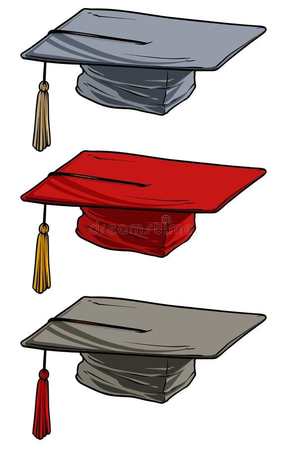 För akademisk fyrkantigt lock avläggande av examenakademikermössa för tecknad film royaltyfri illustrationer