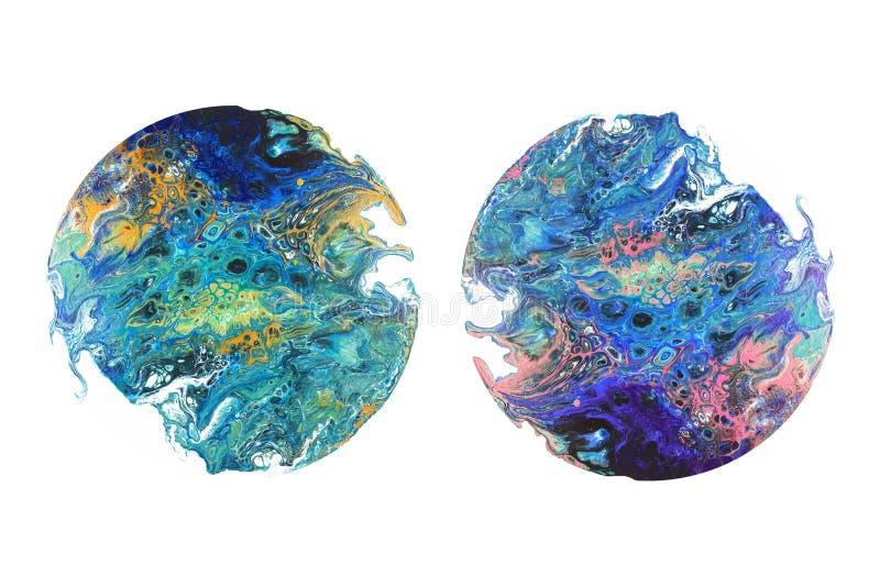 För akrylbild för abstrakt konst foto Design för tryck för bakgrundstexturyttersida och din annonsering Cirkel formad isolat stock illustrationer