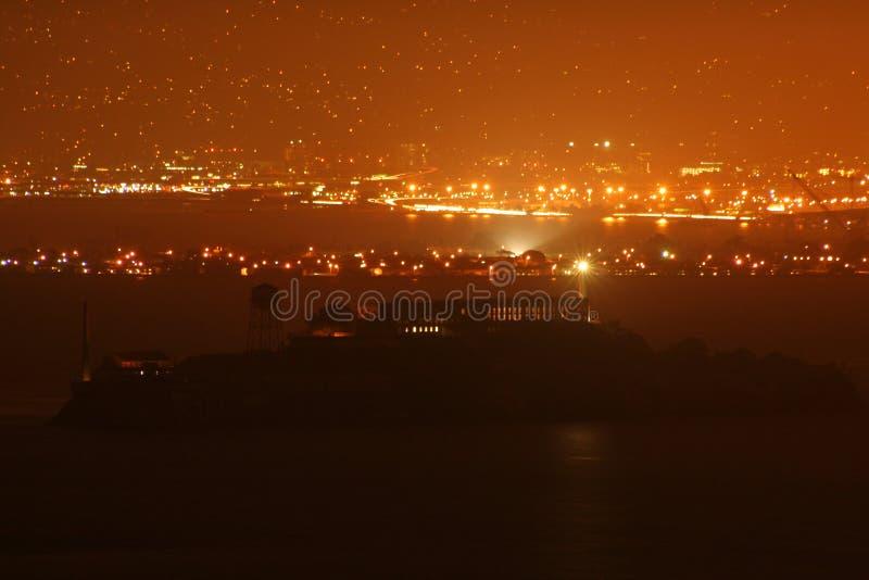 för alcatraz natt sent - arkivfoto
