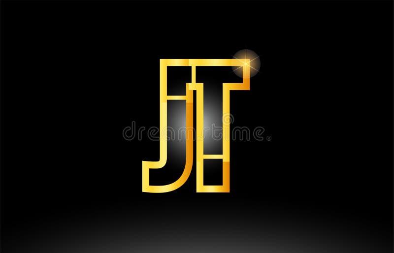 för alfabetbokstav för guld svart design för symbol för kombination för logo för jt j t stock illustrationer