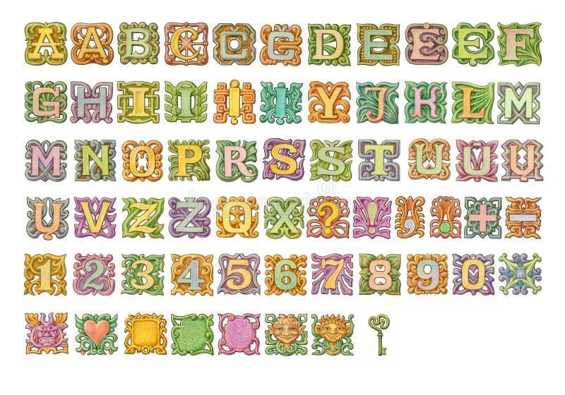 För alfabetmålning för saga färgrik samling Isolerat på vit stock illustrationer