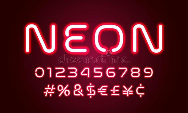 För alfabetstilsort för neon ljusa nummer, speciala symboler med ledd hashtag För neonglöd för vektor rött alfabet för stilsort m royaltyfri illustrationer