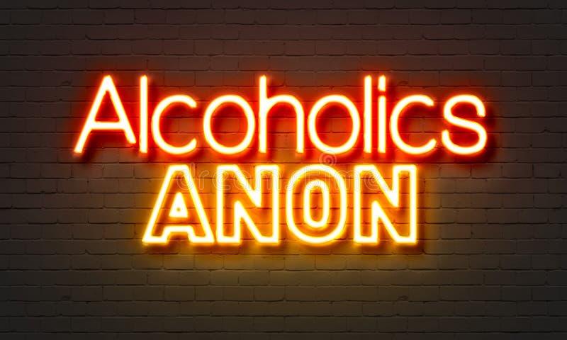 För alkoholister neontecken genast på bakgrund för tegelstenvägg royaltyfri fotografi