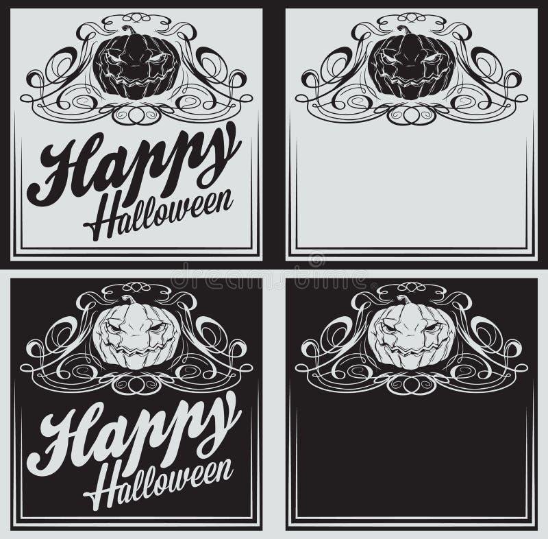 För allhelgonaaftonhälsningar för tappning lyckliga kort med pumpa royaltyfri illustrationer