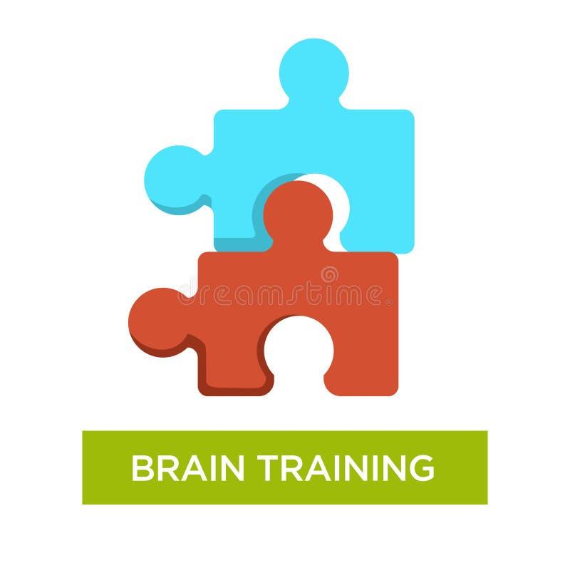 För Alzheimers sjukdomförhindrande för hjärna utbildande figursåg eller pussel royaltyfri illustrationer