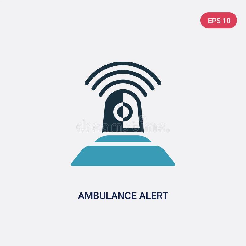För ambulansvarning för två färg symbol för vektor från säkerhetsbegrepp det isolerade blåa symbolet för tecknet för ambulansvarn vektor illustrationer