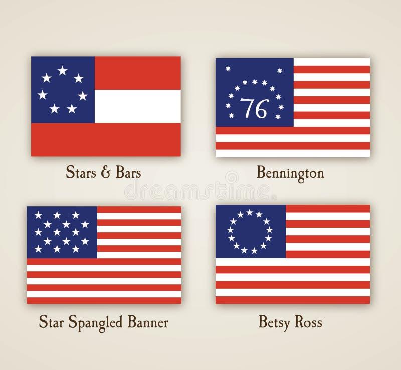 för american flaggor tidigt stock illustrationer