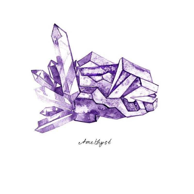 För ametistklunga för vattenfärg dragen purpurfärgad crystal hand måla illustrationen som isoleras på vit bakgrund royaltyfri illustrationer