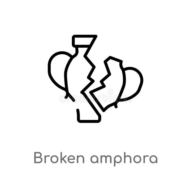 för amforavektor för översikt bruten symbol isolerad svart enkel linje beståndsdelillustration från det Grekland begreppet Redige vektor illustrationer