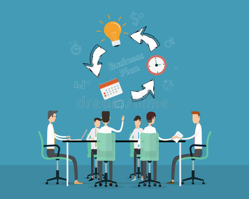 För ana för folkaffärsmöte timeline för projekt planläggning stock illustrationer