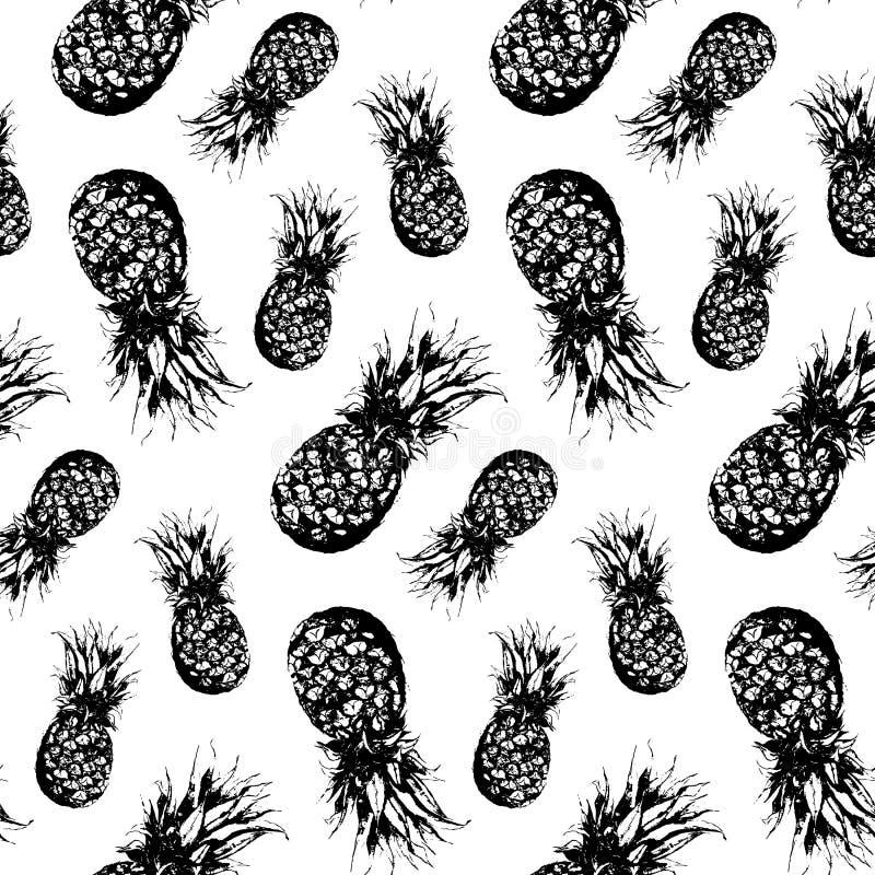 För ananasfrukt för vattenfärgen isolerade den drog monokromma handen vektorn vektor illustrationer