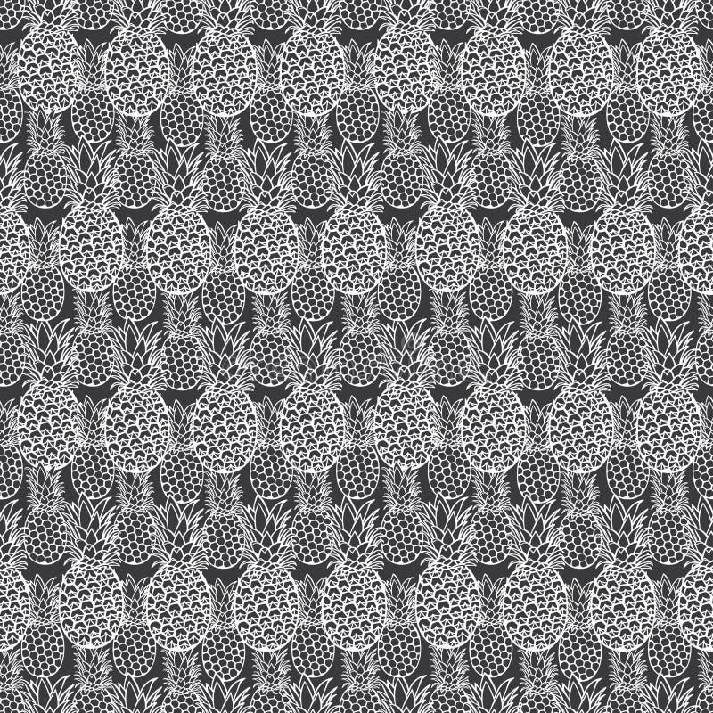 För ananastextur för vektor grå modell för repetition Passande för gåvasjal, textil och tapet royaltyfri illustrationer