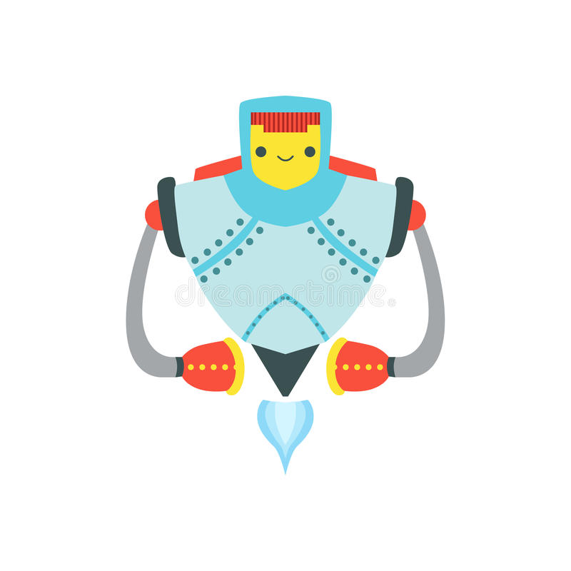 För Android för starkt metallflyg vänlig illustration för tecknad film för vektor för tecken robot vektor illustrationer