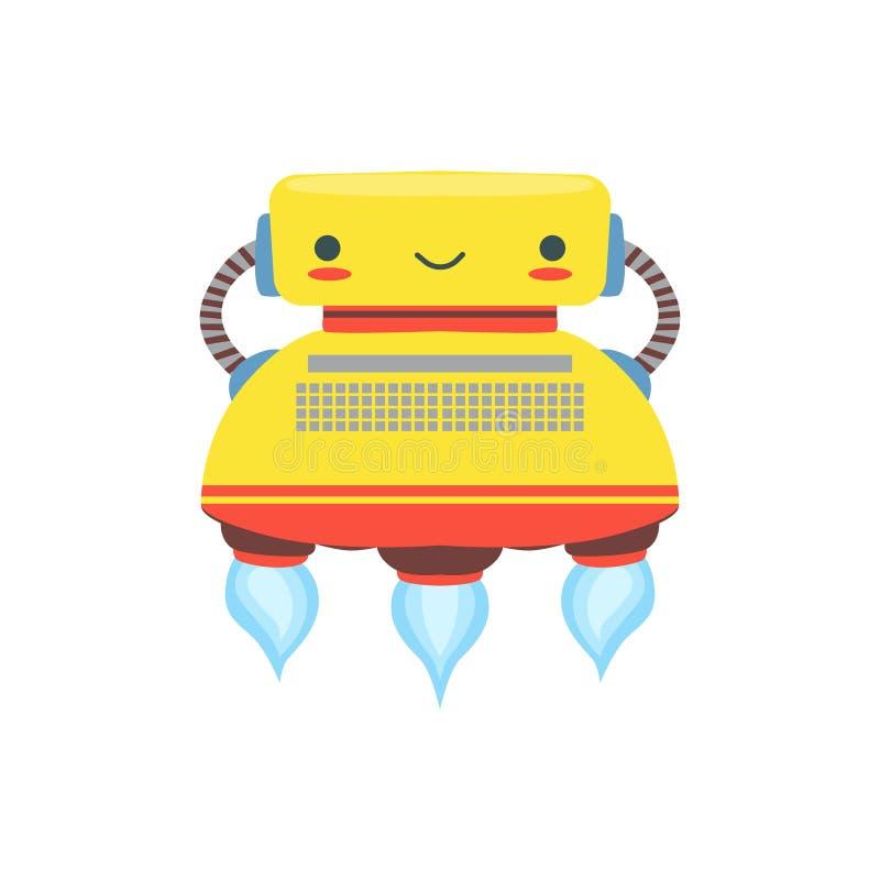 För Android för Yelllow flyg vänligt tecken robot i Shape av illustrationen för skrivmaskinsvektortecknad film royaltyfri illustrationer