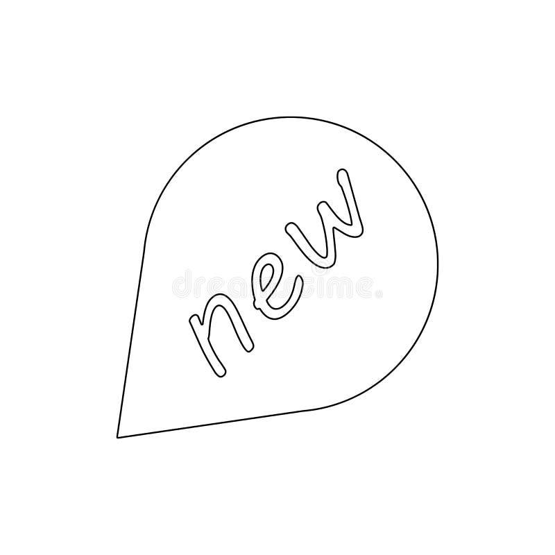 För anförandebubbla för emblem ny symbol för översikt Tecknet och symboler kan anv?ndas f?r reng?ringsduken, logoen, den mobila a stock illustrationer