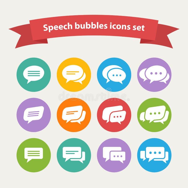 För anförandebubbla för vektor vita symboler royaltyfri illustrationer