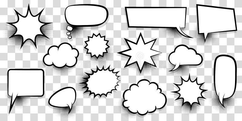 För anförandebubbla för stor uppsättning tom text för komiker royaltyfri illustrationer