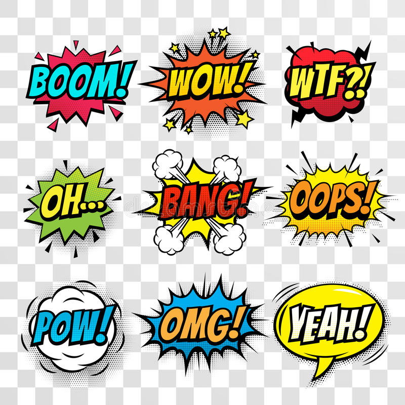 För anförandebubblor för vektor komisk uppsättning med ord stock illustrationer