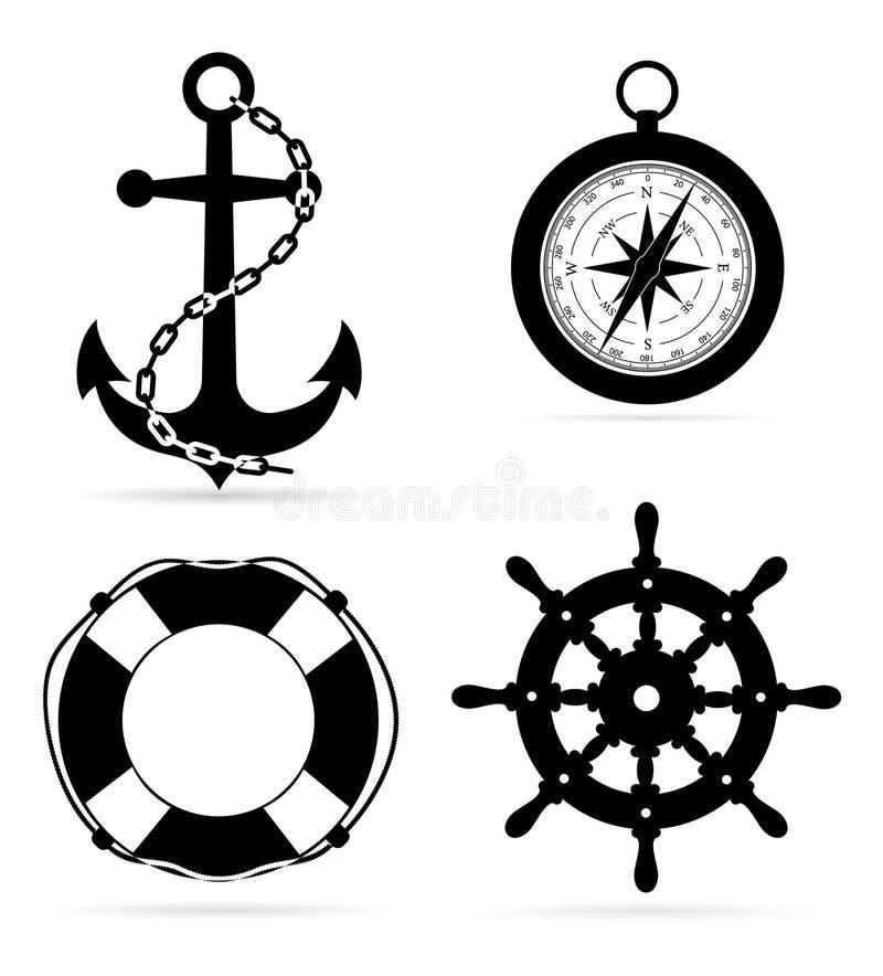 För ankarkompass för marin- utrustning som livboj styr den svarta illustrationen för vektor för översiktskonturmateriel stock illustrationer