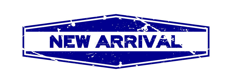 För ankomstord för Grunge blå ny stämpel för gummi för sexhörning på vit bakgrund royaltyfri illustrationer