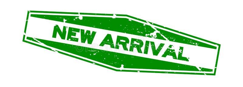 För ankomstord för Grunge grön ny stämpel för gummi för sexhörning på vit bakgrund stock illustrationer
