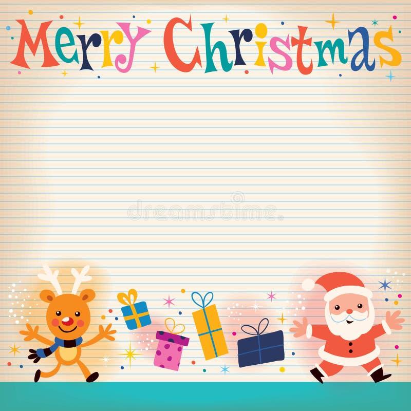För anmärkningsbok för glad jul fodrat kort för hälsning för papper retro stock illustrationer