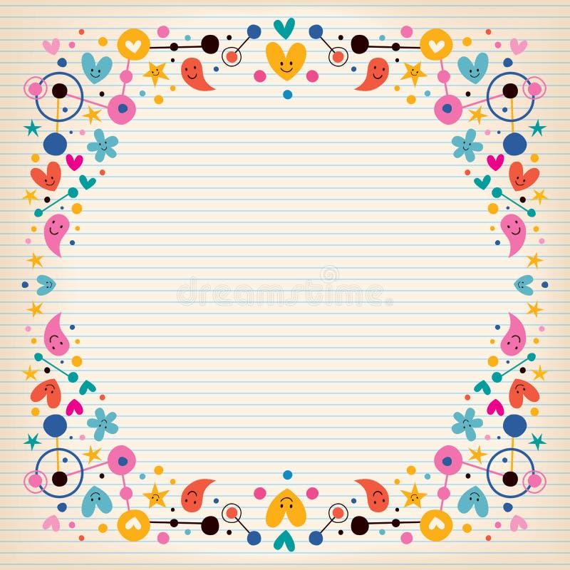För anmärkningspapper för hjärtor, för prickar, för blommor och för stjärnor gränsar den skraj ramen stock illustrationer
