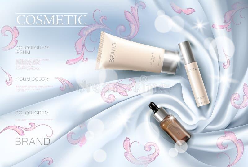 För annonsframsida för broderi mall för affisch för siden- kosmetisk makeup för kvinna befordrings- Blå gardintextil Guld- guld-  vektor illustrationer