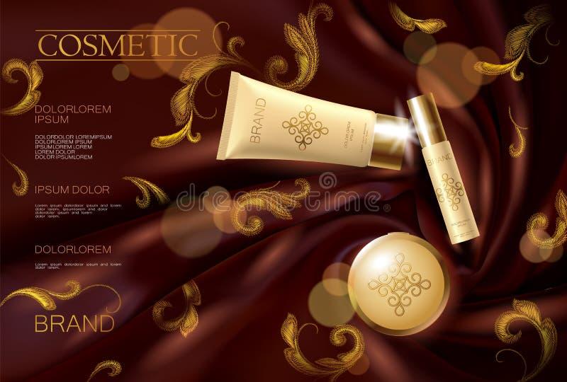 För annonsframsida för broderi mall för affisch för siden- kosmetisk makeup för kvinna befordrings- Röd gardintextil Guld- guld-  royaltyfri illustrationer