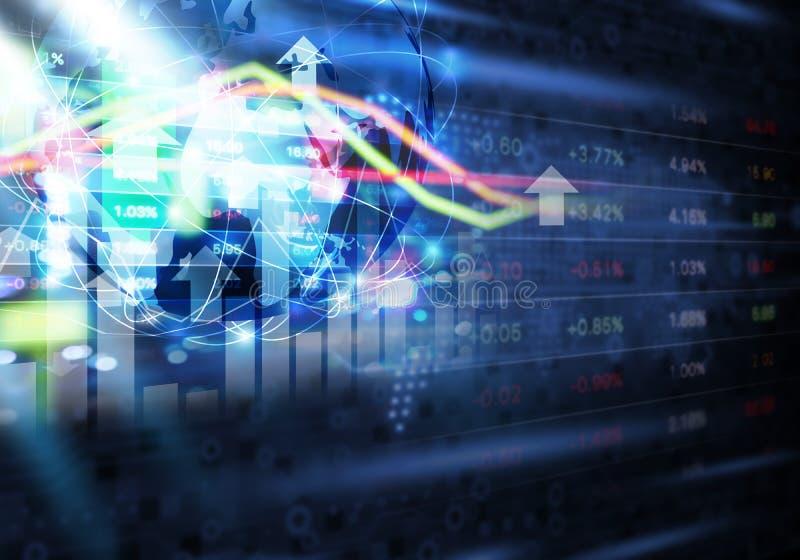 För anslutningsabstrakt begrepp för aktiemarknad och för globalt nätverk bakgrund royaltyfri bild