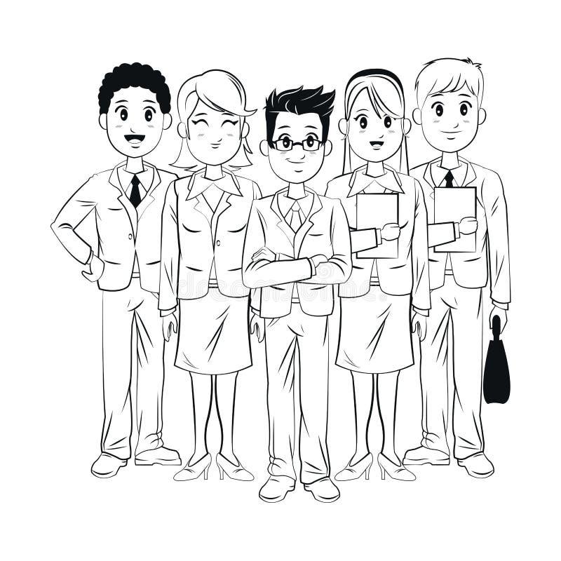 För anställdlag för grupp ung affär för arbete royaltyfri illustrationer