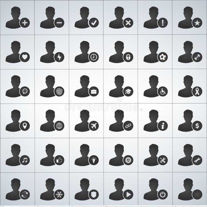 för användaresymbol för 36 avatar uppsättning vektor illustrationer