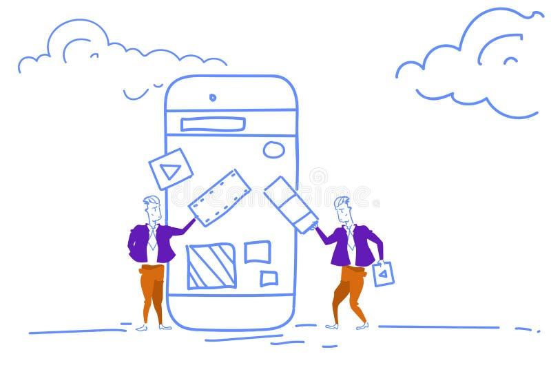 För användargränssnittcustomization för affärsman ändrande process för mobil för applikation idérik social för massmedia utveckli royaltyfri illustrationer