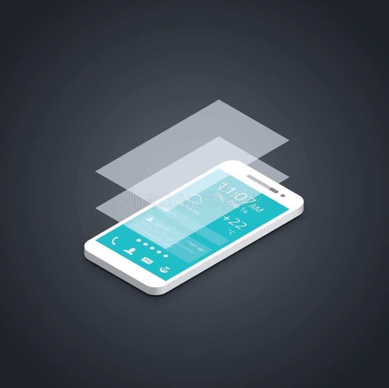För användargränssnittutveckling för mobiltelefon plan vecto vektor illustrationer